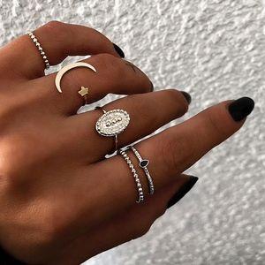 Moon Star Black Gem Gold Textured Midi Rings 5Pc